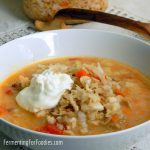 Sauerkruat Soup - with creamy mashed potatoes, sausages and tomato