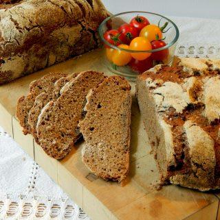 Sliced loaf of sourdough rye.
