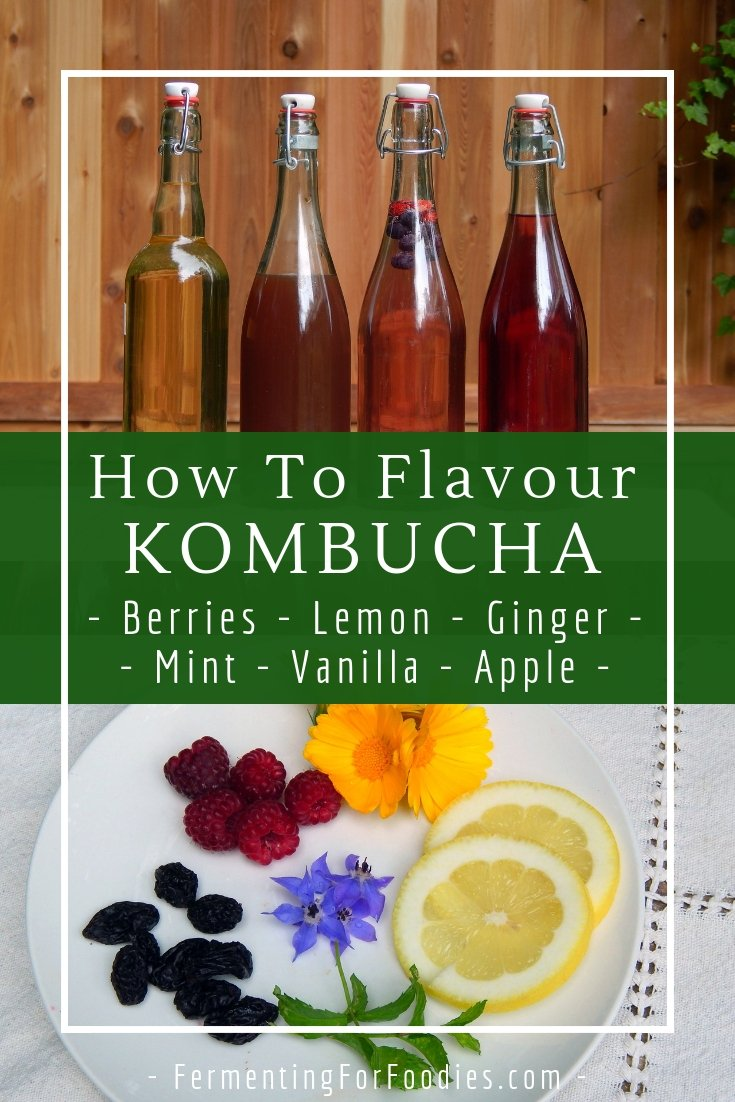 Eight popular kombucha flavours - ginger, berry, apple, citrus and vanilla