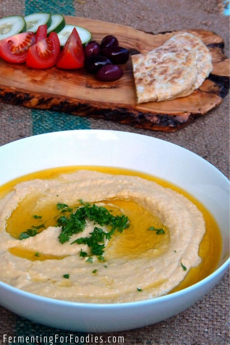 Fermented hummus can be made with miso, kombucha or lactic cultures