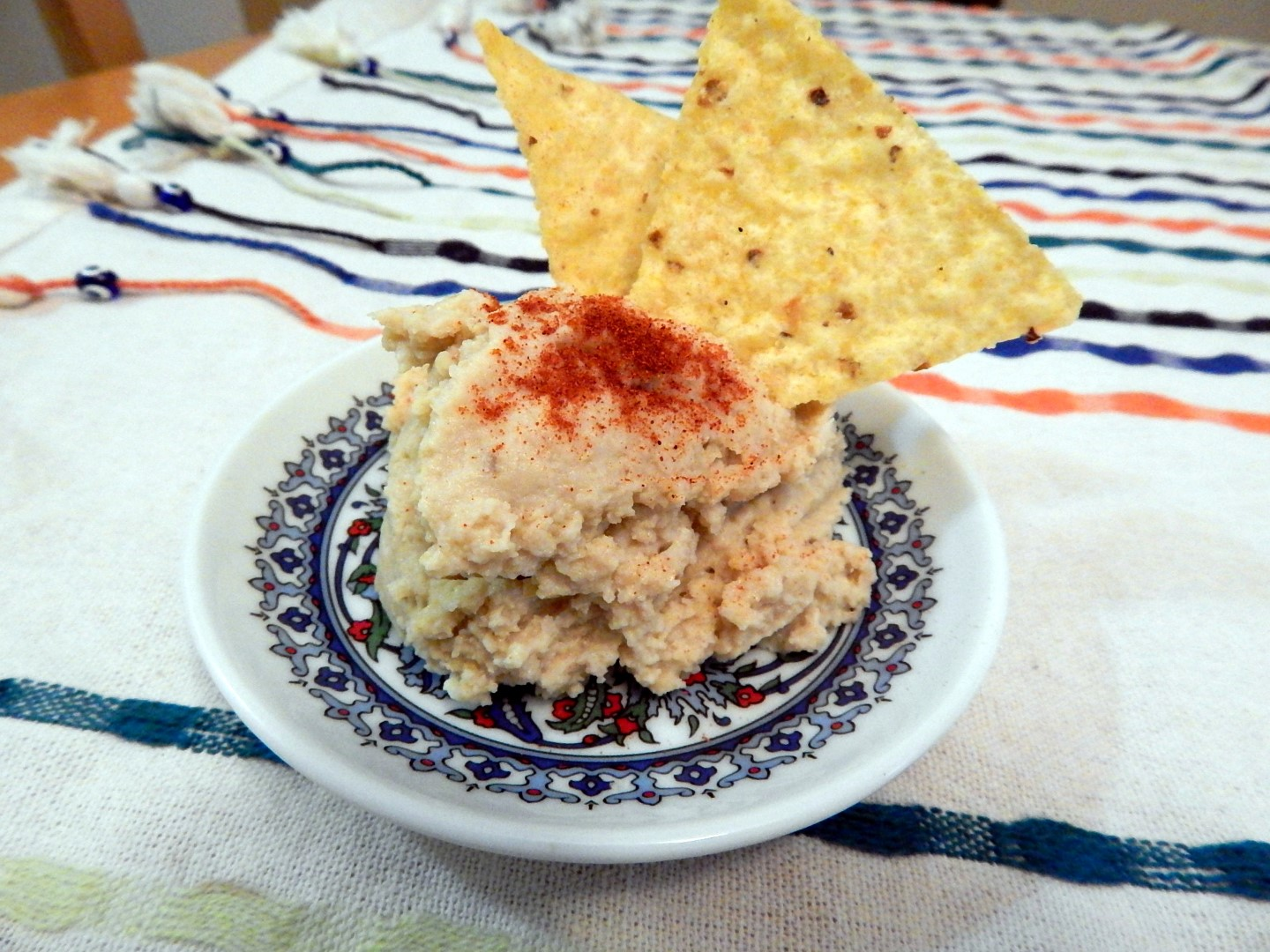 Hummus served with corn chips