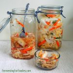 Vegetarian Kimchi - Korean fermented napa cabbage with radish, carrots, onion, garlic and ginger