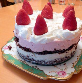 Strawberry chocolate ice cream cake.