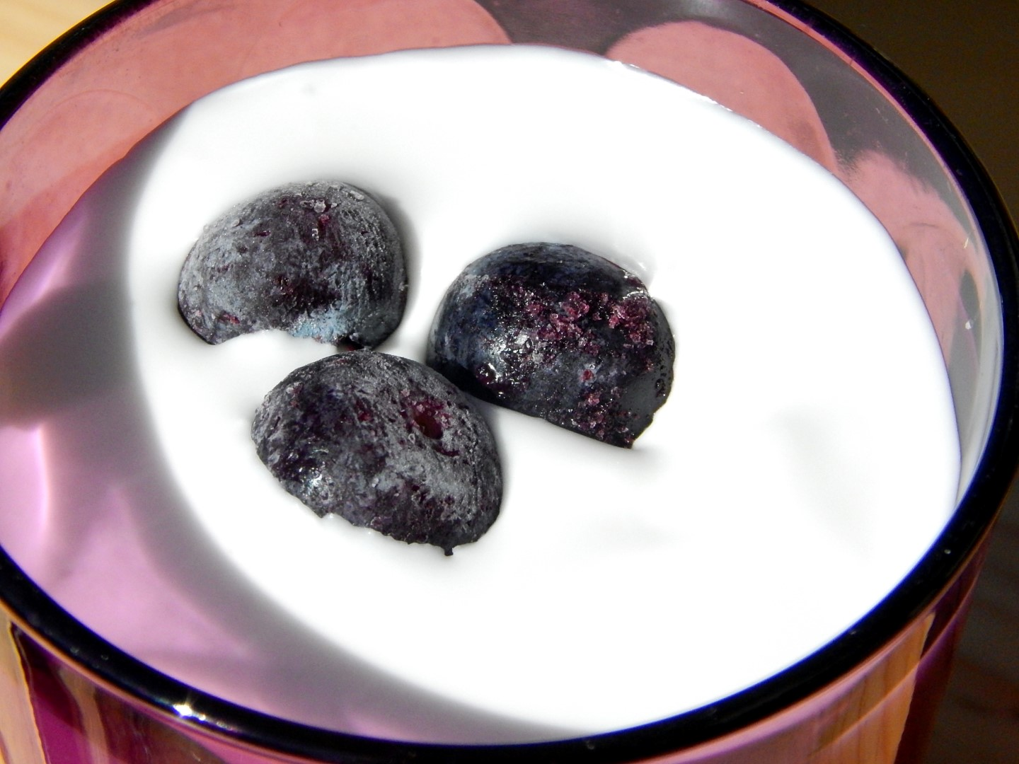 Cultured coconut milk with blueberries.