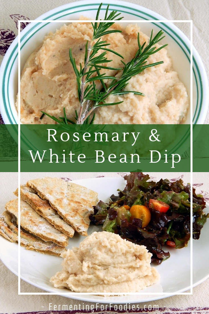 Delicious rosemary white bean dip - vegan, gluten free, probiotic