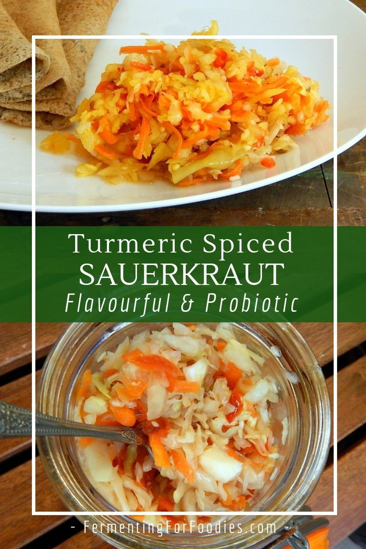 Turmeric and spice sauerkraut with cabbage, carrots, onions and peppers