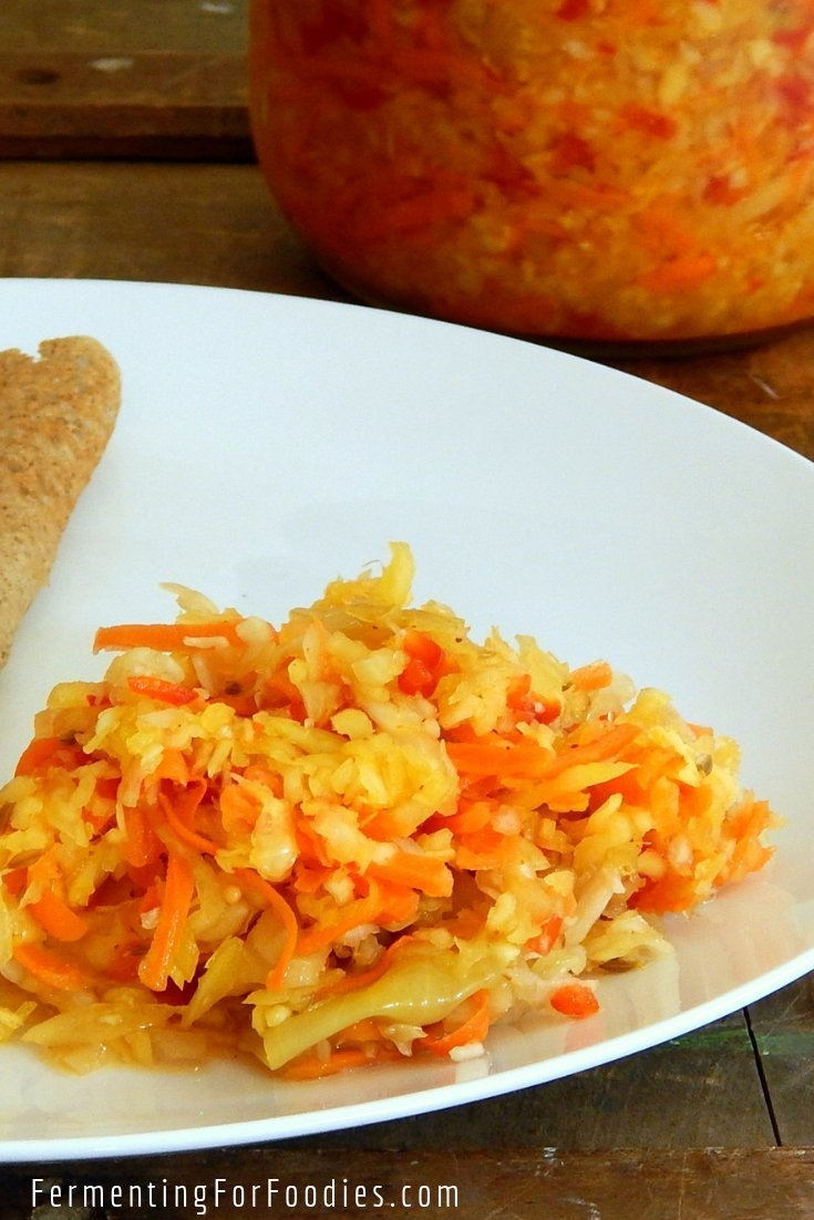 Spiced turmeric sauerkraut is flavourful and probiotic.