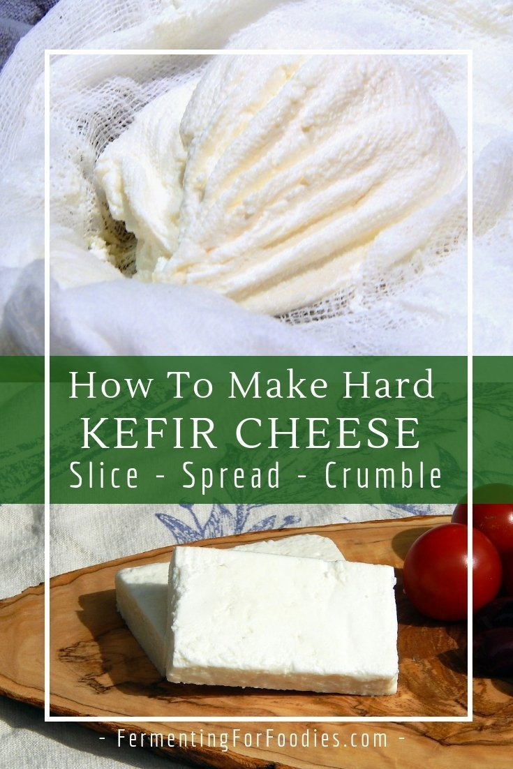 Turn over-cultured, separated milk kefir into a hard kefir cheese