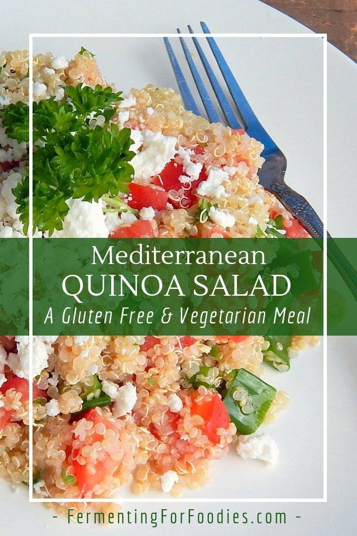 Quick and easy Mediterranean quinoa salad.