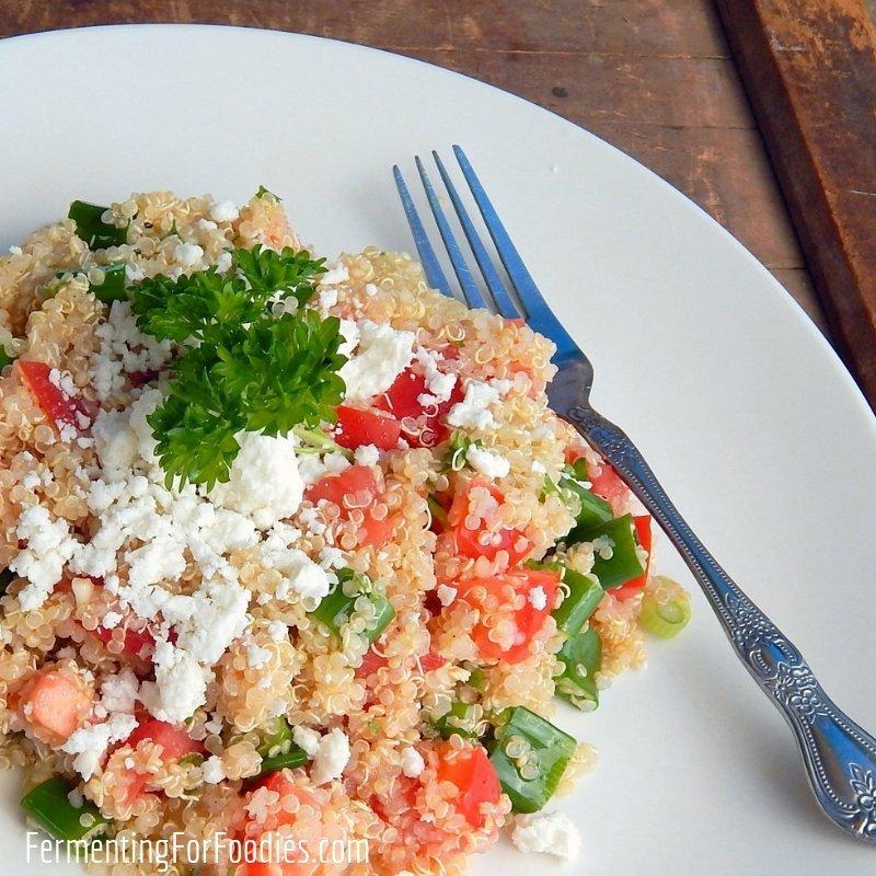Mediterranean quinoa salad is a gluten free and vegetarian meal