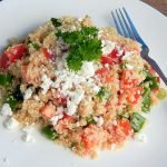 Mediterranean quinoa salad is a gluten free and vegetarian meal