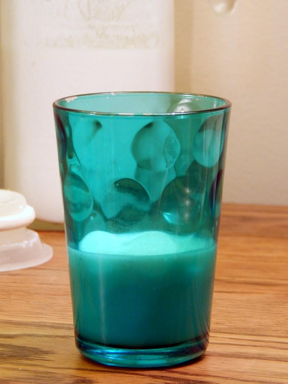Buttermilk in a blue glass.
