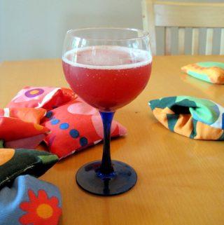 Glass of homemade alcoholic spritzer.