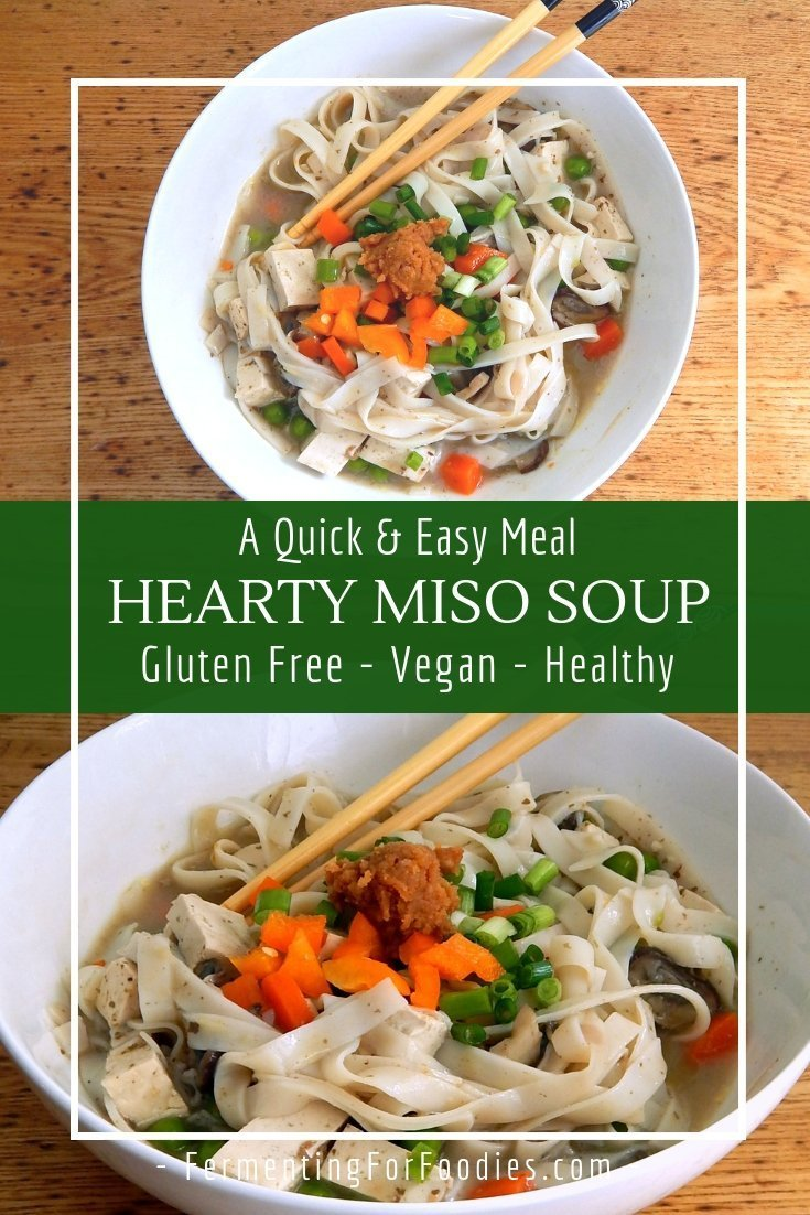 Hearty miso soup - gluten free, vegan, healthy and probiotic.