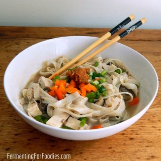 Delicious miso soup with noodles and vegetables