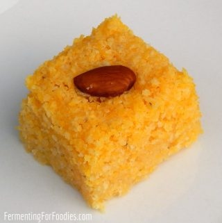 Gluten free namoura made with cornmeal and honey