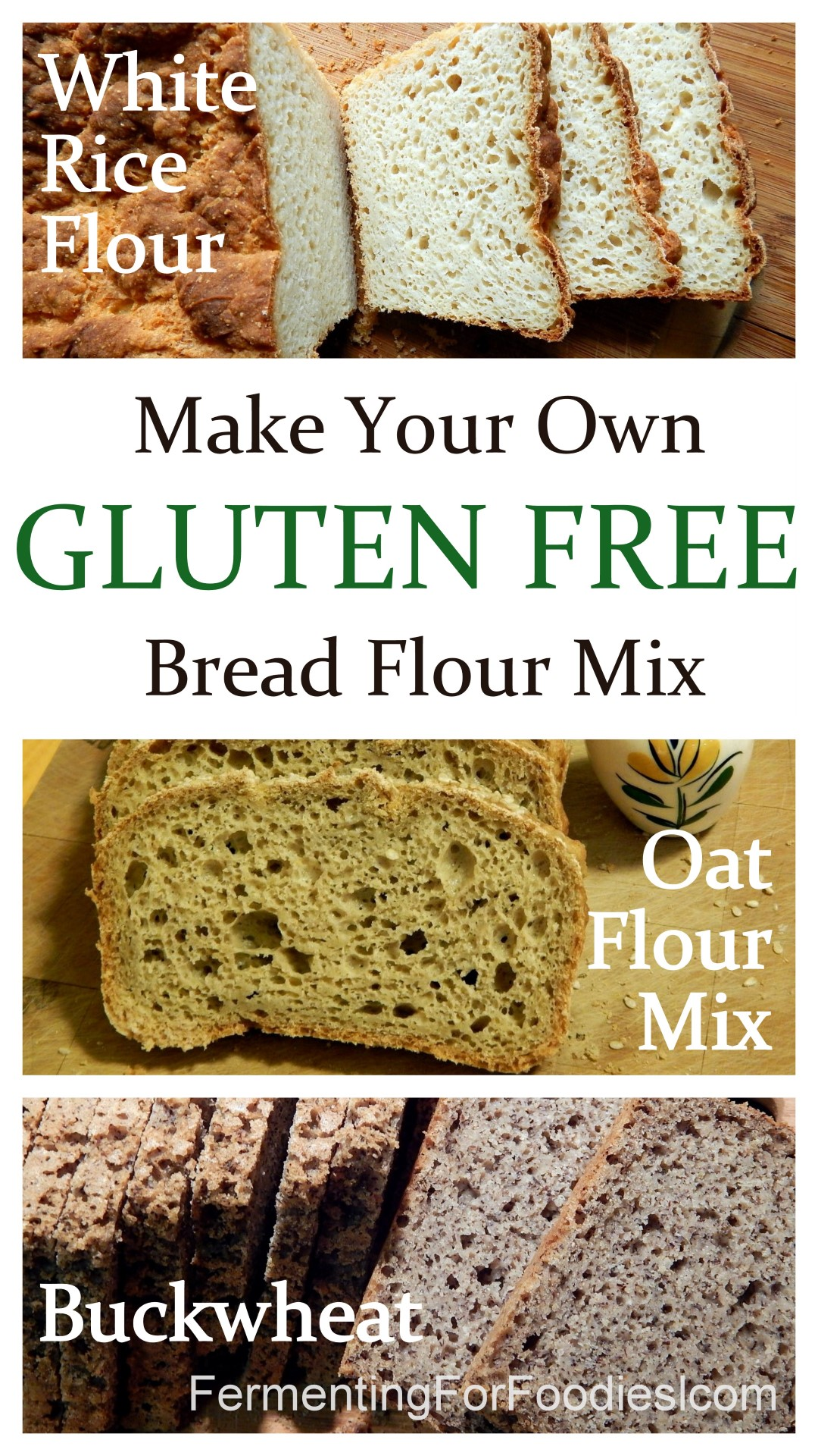 A perfect flour mix for sourdough bread whether you use oat, rice or buckwheat.