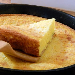 Southern style cornbread in a cast iron pan.