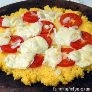 Simple polenta pizza with prefermented polenta for nutrition