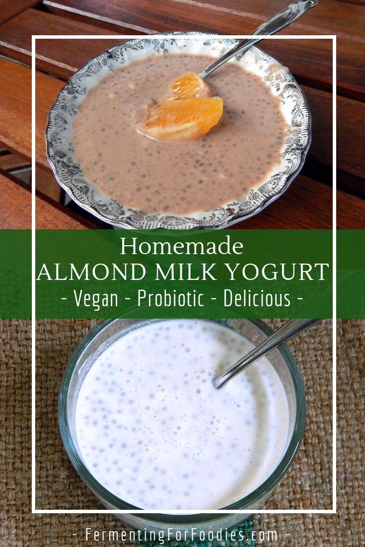 Almond milk yogurt with chia seeds