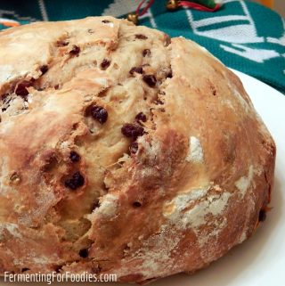 Traditional Irish Sourdough Barmbrack is a yeasted bread with raisins and cinnamon