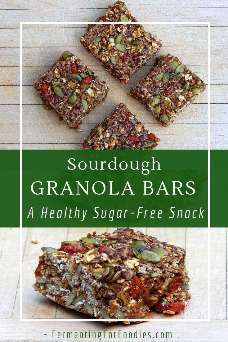 Sourdough granola bars can be gluten free, vegan, sugar free and fully fermented