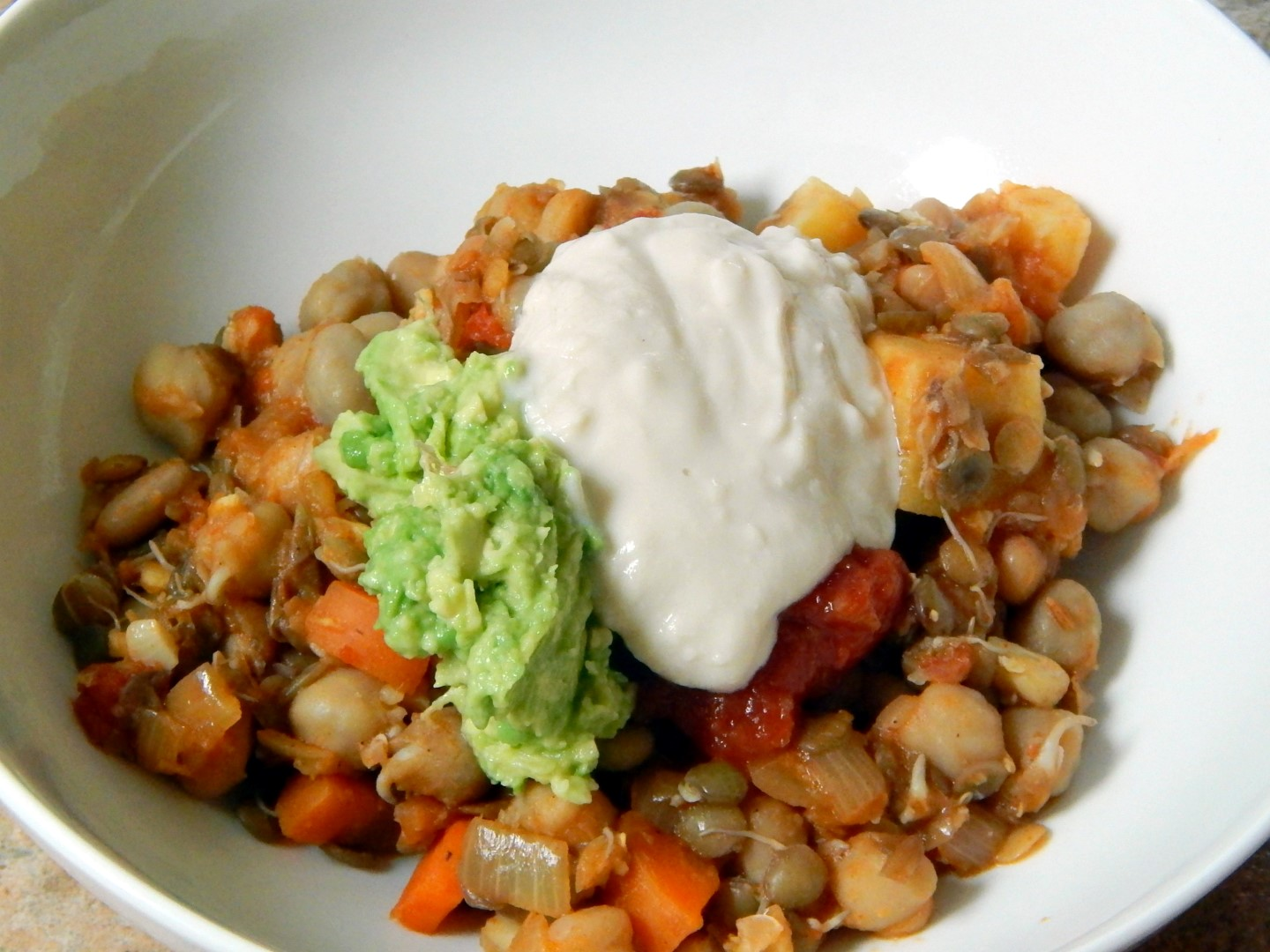 Vegan sour cream with a mexi bowl.