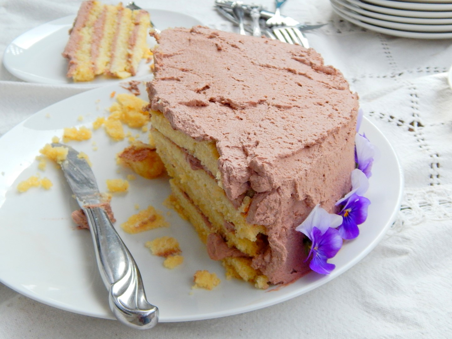 Half eaten layer cake with chocolate frosting.