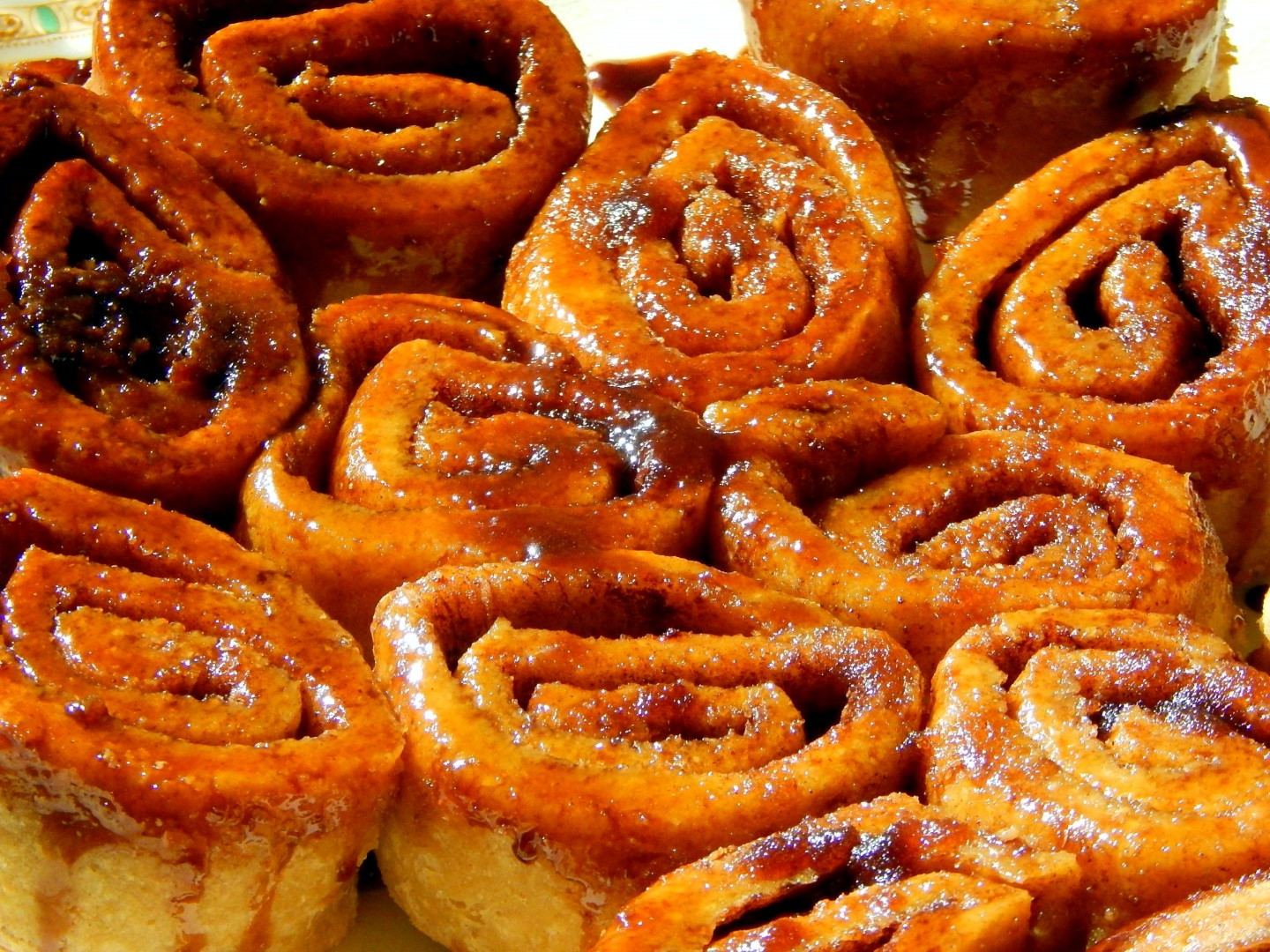Tray of gluten free sourdough cinnamon buns.