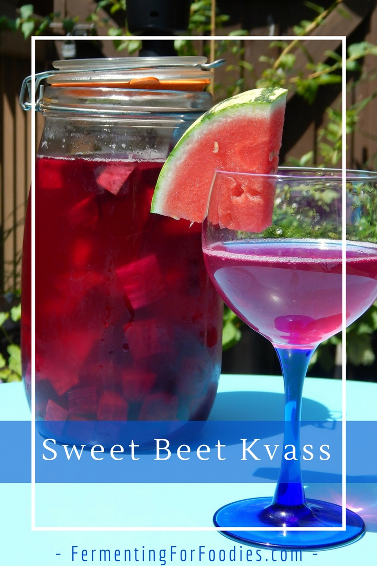 A simple homemade sparkling beverage made from beets and honey.
