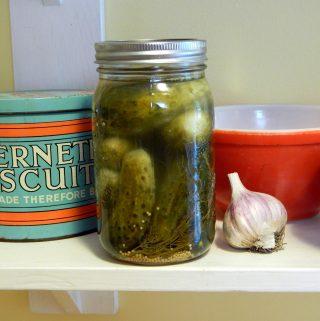 Mason jar of grandma's fermented pickles