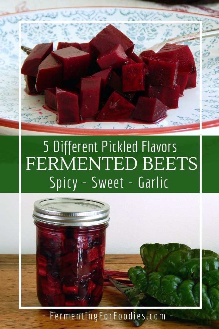 Five different flavours of pickled beets. Fermented beets with spicy, sweet, garlic and more!