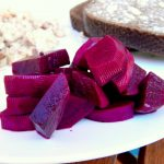 Pickled beets on a plate