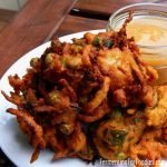 Gluten free vegetable pakoras made with chickpea flour, tamarind and yogurt