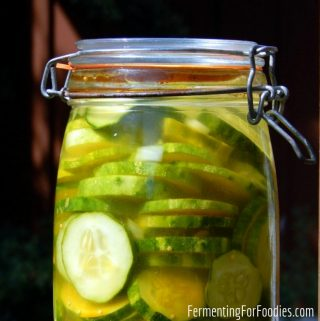 Fermented honey garlic pickles are perfect for sandwiches, barbecues and snacking with cheese