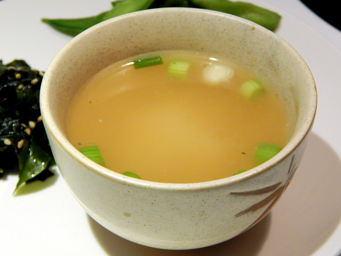 Miso soup in a cup.