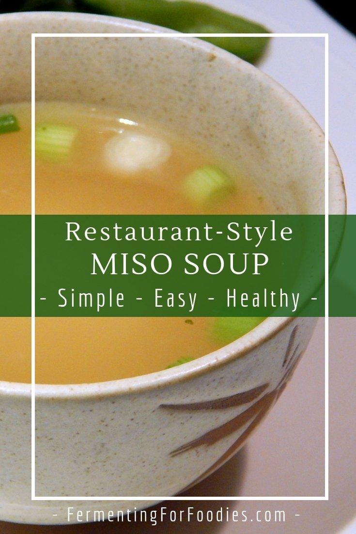 Vegan, gluten free miso soup with dashi broth and tofu