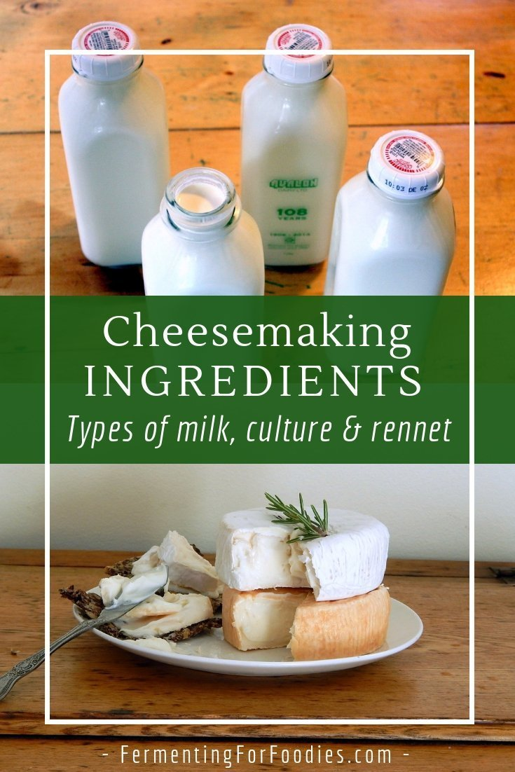 Cheesemaking ingredients - types of milk, culture and rennet