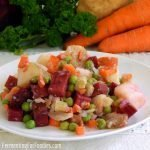 Ukrainian beet salad with pickled vegetables and potatoes