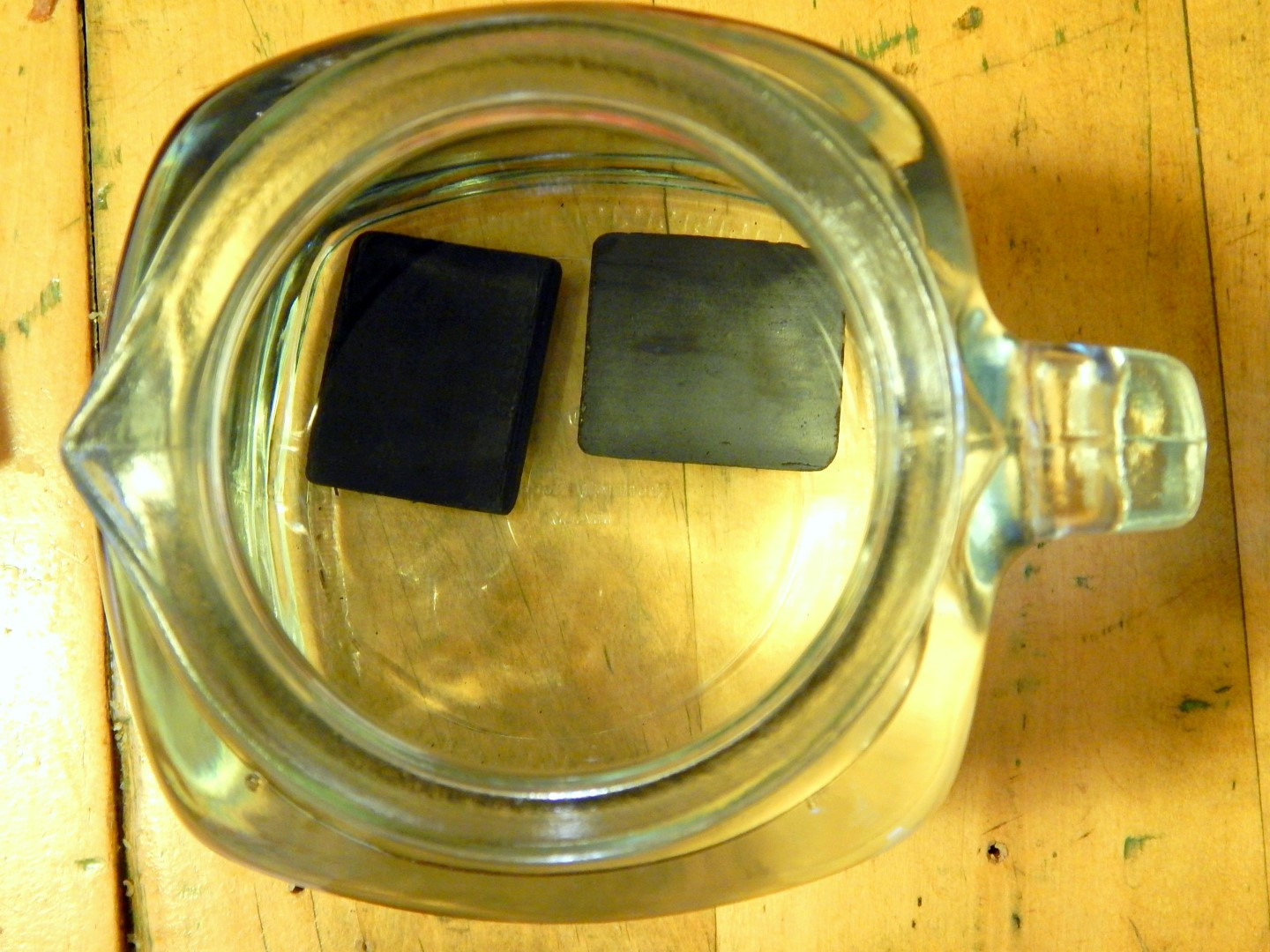 Activated charcoal filter in a jug of water