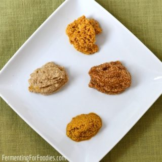 Four different flavours of homemade mustard.