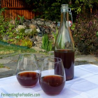Homemade plum wine, cider, brandy
