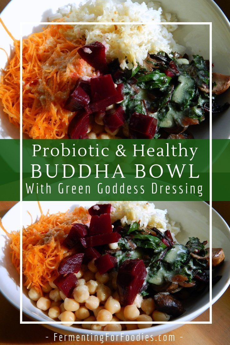Green goddess dressing is perfect for salads or with a probiotic buddha bowl
