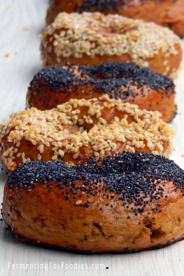 Traditionally boiled gluten free sourdough bagels