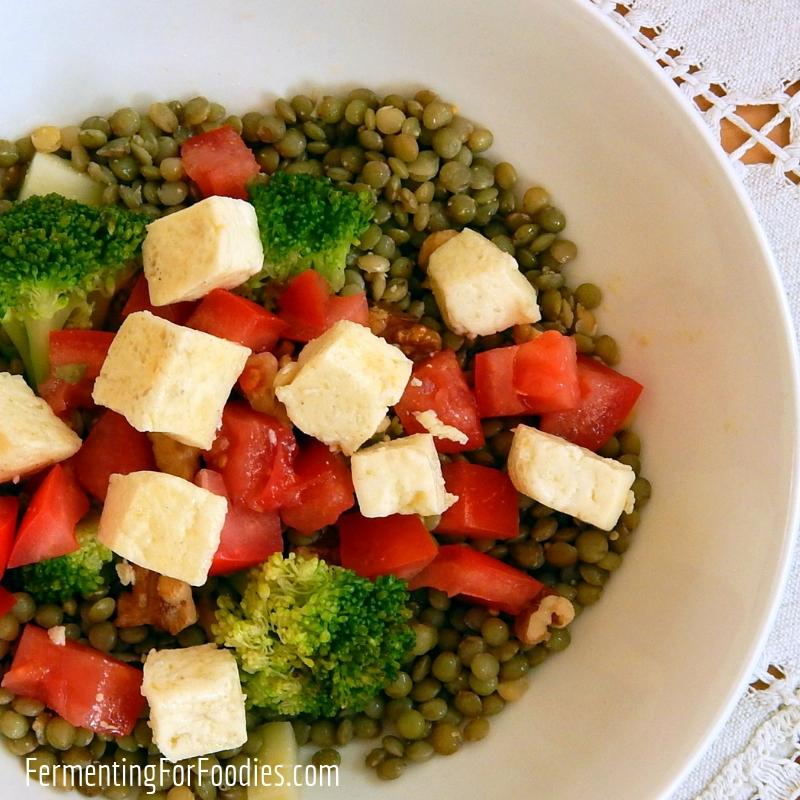 Halloumi Salad - With lentils, walnuts, broccoli and tomatoes