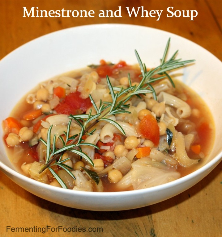Minestrone soup made with whey.
