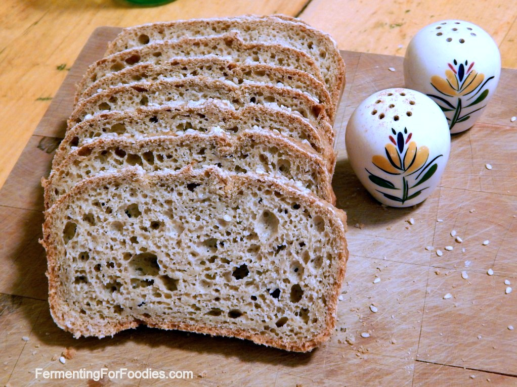 Slices of gluten free oat flour bread