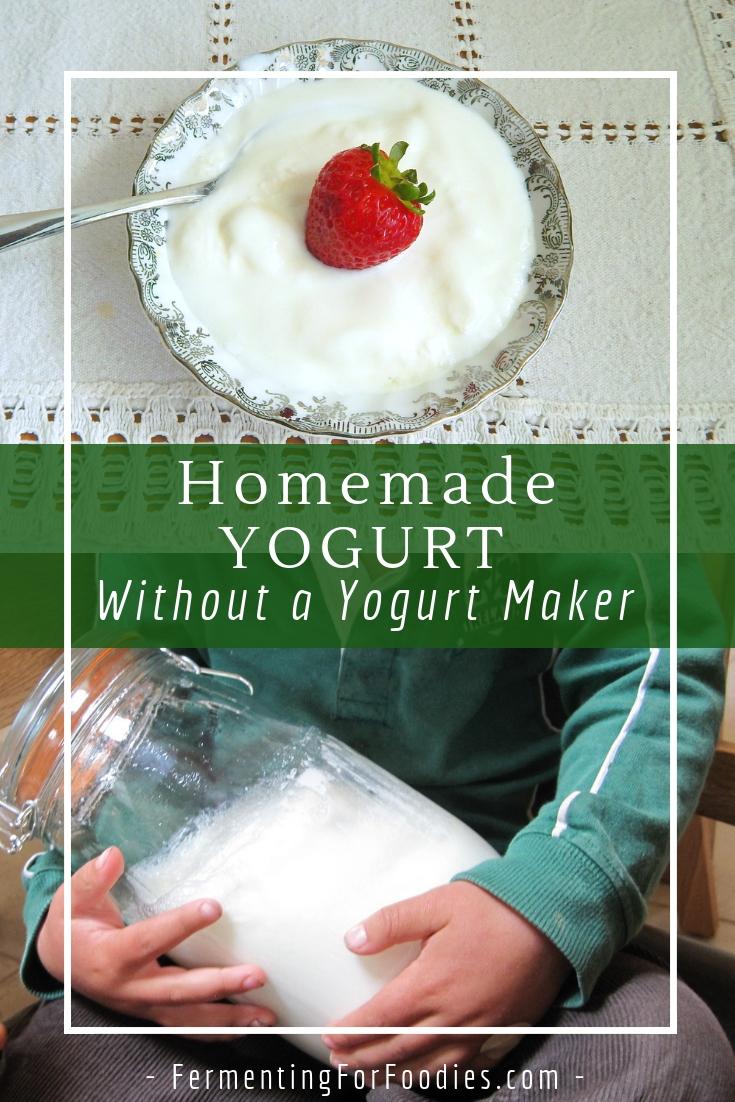 Homemade yogurt without a yogurt maker.