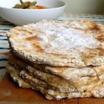 Simple gluten free flatbread make with buttermilk and baking soda