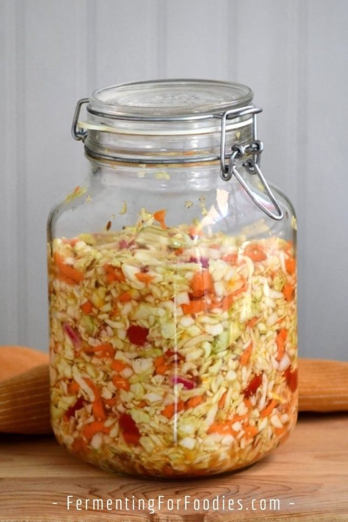 This unusual fermented cabbage recipe uses a yeast-based culture for a sweet ferment